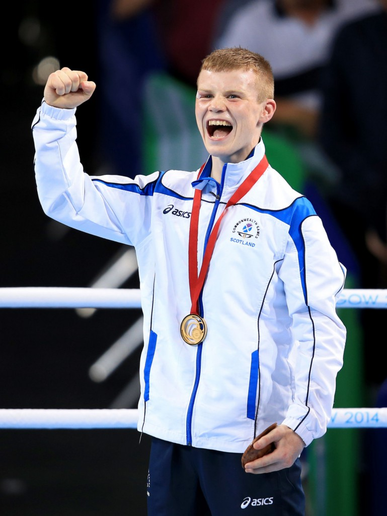 "File photo dated 2/8/2014 of Scotland's Charlie Flynn on the podium with his Gold Medal after victory in the Men's Light (60kg) Final Bout the SSE Hydro, during the 2014 Commonwealth Games in Glasgow. Athletes, officials and politicians have been reflecting on their memories of Glasgow 2014 one year since the city hosted the ""best Commonwealth Games ever"". PRESS ASSOCIATION Photo. Issue date: Wednesday July 22, 2015. See PA story SPORT Commonwealth. Photo credit should read: Peter Byrne/PA Wire  Editorial use only. No commercial use. No video emulation."